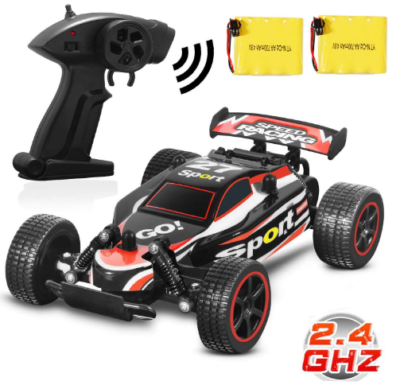 This is an image of boy's racing cars with remote control in black color