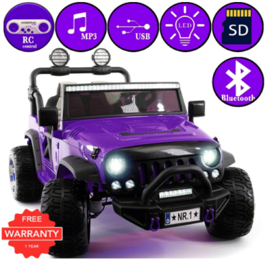 This is an image of girl's power wheels jeep truck in purple color