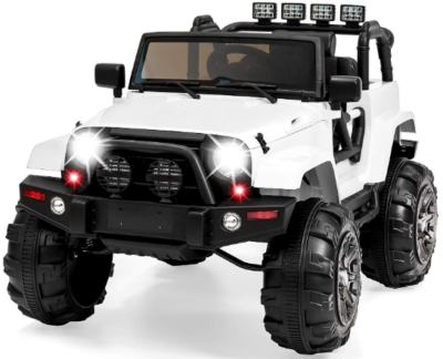 This is an image of Girl's power wheels truck in white color