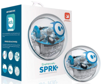 This is an image of kid's robotic ball Spark plus in white and blue color