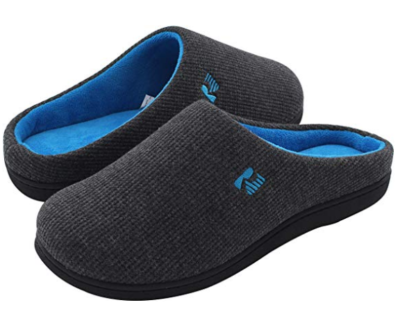 This is an image of a dark blue foam slipper for men by RockDove.