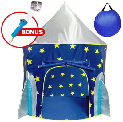 This is an image of boy's rocketship tent in blue color