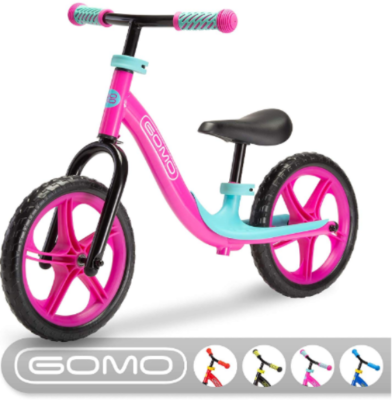 This is an image of toddler's training bike in pink and blue colors