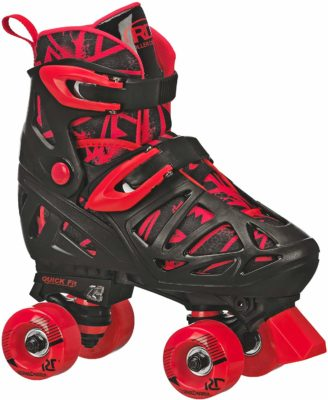 This is an image of a red roller skates for kids by Roller Derby.