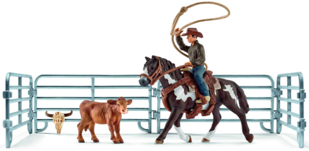 This is an image of kid's roping with cowboy toys in multi colors