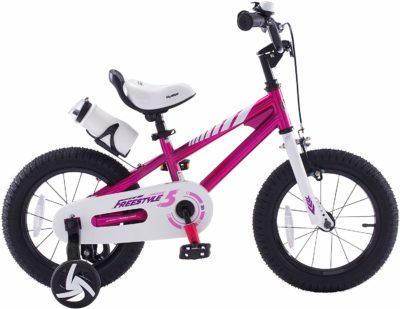 This is an image of a fuchsia training bike for kids by Royalbaby.