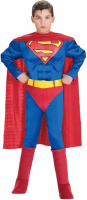 This is an image of a boy wearing a superman costume.