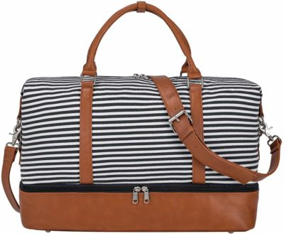 This is an image of a weekender bag with black strips for women by S-ZONE.