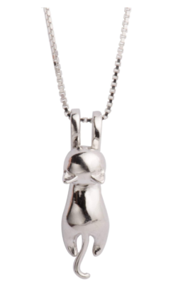 This is an image of a sterling silver cat pendant for women by S.Leaf.