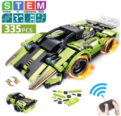 This is an image of kid's STEM car with remote control in green color