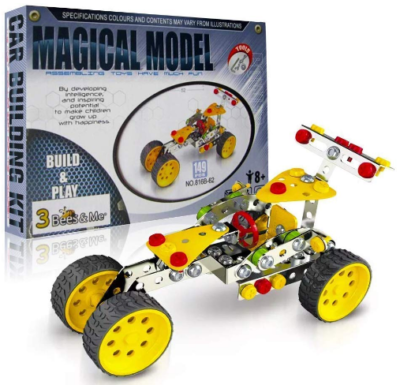 This is an image of boy's STEM car building kit in yellow color