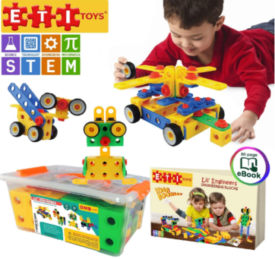 This is an image of boy's STEM learning building kit in colorful colors