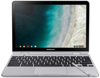 This is an image of girl's samsung chrome book in gray color