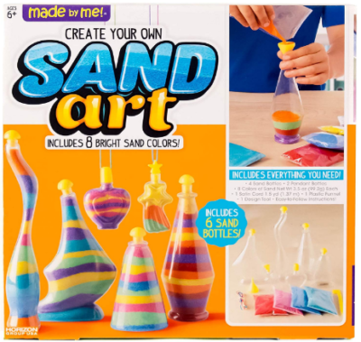 This is an image of girl's sand art in colorful colors