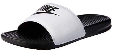 This is an image of boy's nike sandal in white and black colors