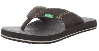 This is an image of a brown flip flop for men by Sanuk.