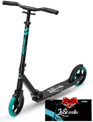 This is an image of kid's scooter with 2 wheel in black and blue colors