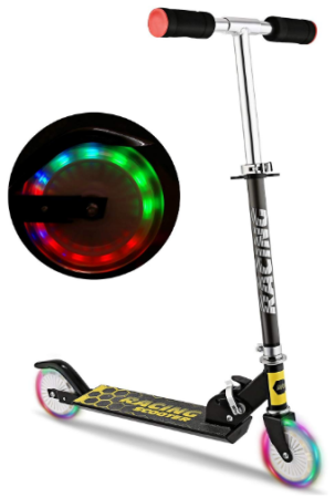 This is an image of kid's scooter with LED light up wheels in colorful colors
