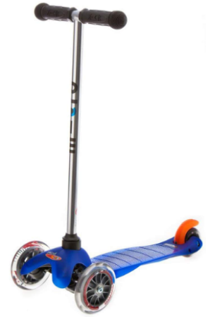 This is an image of kid's kick scooter with 3 wheels in blue color