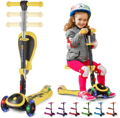 This is an image of kid's kick scooter with 3 wheels and seat in yelow color