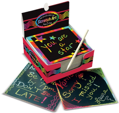 This is an image of boy's scraftch art box of rainbow in black color