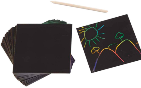 This is an image of girl's scratch art box of rainbow colors in black color