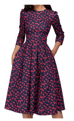 This is an image of a red floral vintage dress by Simple Flavor.