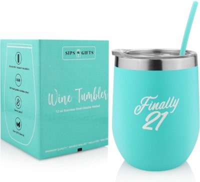 This is an image of a mint green wine tumbler with lid and straw by Sips and Gifts.