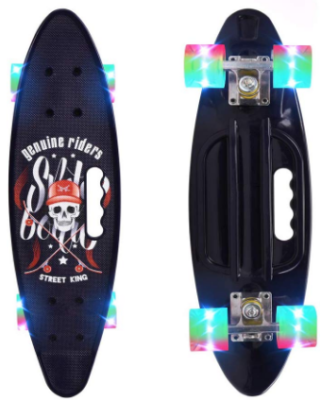 This is an image of kid's skateboard 22 inch with LED light up wheels in black color
