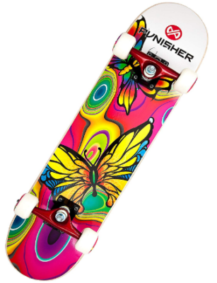 This is an image of kid's skateboard with butterfly graphics by Punisher in colorful colors