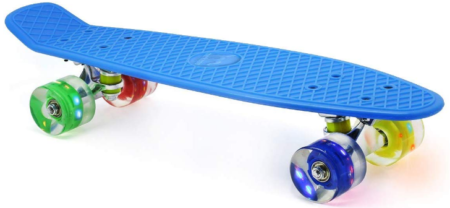 This is an image of kid's skateboard with colorful LED light up wheels in blue color