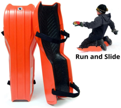 This is an image of kid's snow sled for legs in orange color