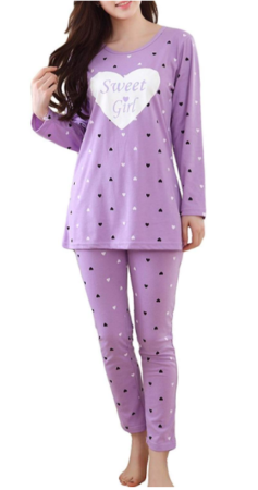 This is an image of girl's pajama set in purple color