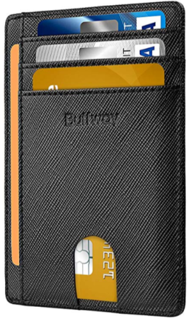This is an image of boy's slim minimalist wallet in black color
