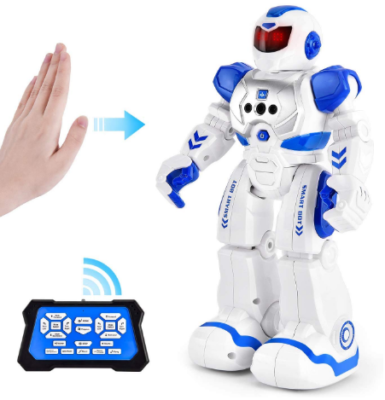 This is an image of boy's smart robot toys with remote control in white and blue color
