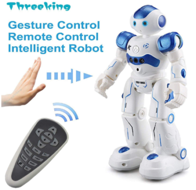 This is an image of boy's smart robot with remote control in white and blue colors