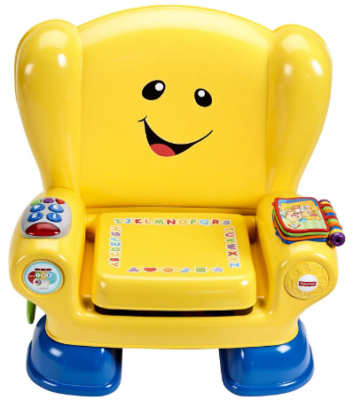 This is an image of boy's smart chair with multi toys in yellow color