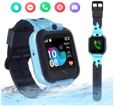 This is an image of girl's smatwatch with camera in black and blue colors