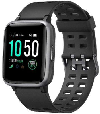 This is an image of boy's waterproof smart watch with fitness tracker in black color