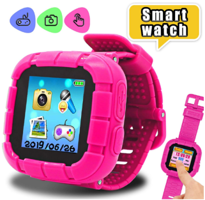 This is an image of girl's digital smart watch in pink color