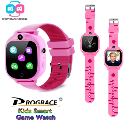This is an image of girl's smart watch with dual cameras in pink color