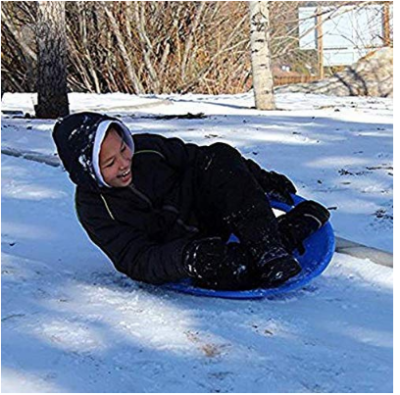 This is an image of kid's snow sled in blue color