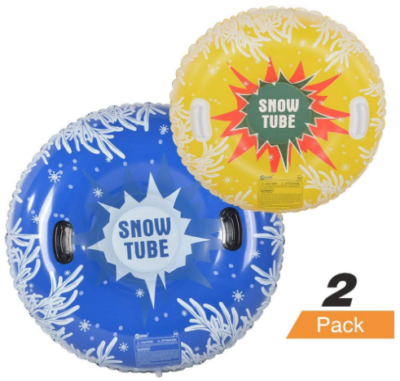 This is an image of kid's snow tube pack in yellow and blue colors