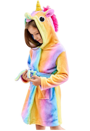 This is an image of girl's soft unicorn bathrobe in colorful colors