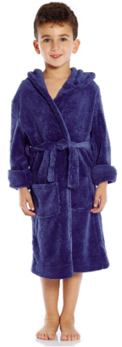 This is an image of kid's solid hooded fleece sleep robe bathrobe in blue color