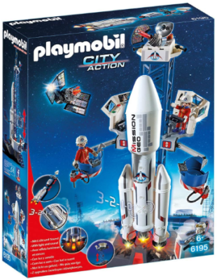 This is an image of boy's Space rocket with launch site in white color