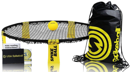 This is an image of boy's spikeball game set in black and yellow colors