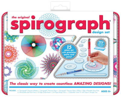 This is an image of girl's spirograph design tin set