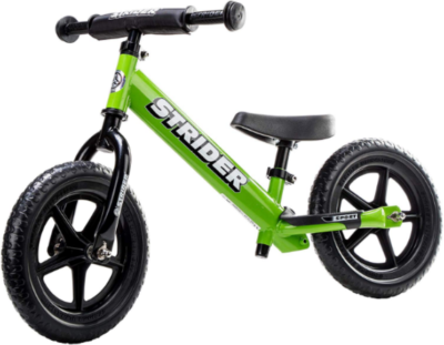 This is an image of toddler's sport balance bike in green color