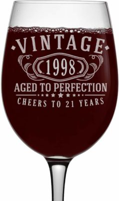 This is an image of a vintage 1998 wine glass for 21 year old ladies by Spotted Dog Company.